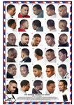 06BLKM Laminated Barber Poster with 30 Styles for African American Men