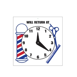 "Scalpmaster ""Will Return At"" Sign w/ Clock"