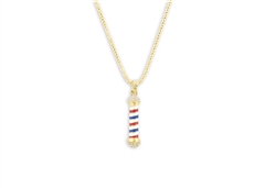 rhinestone barber pole necklace gold