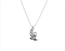mini barber chair necklace silver