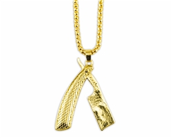 gold straight razor necklace textured